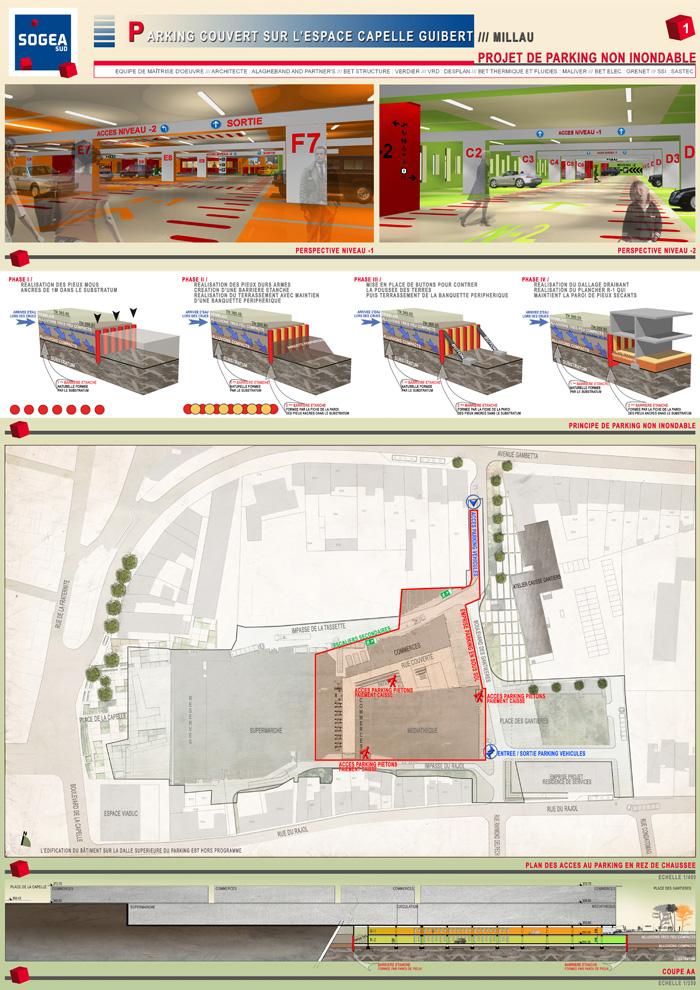 Parking espace commercial millau j r me mallaret for Projet d architecture