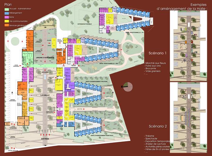 PLAN de NIVEAUX et plans d'animations publiques de la HALLE (cinéma en plein aire, marchés saisonniers dont marché de Noël, etc.)