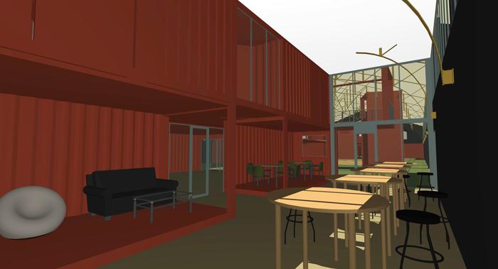 PERSPECTIVE INTERIEURE - SALON entre bâtiment container et mur gymnase