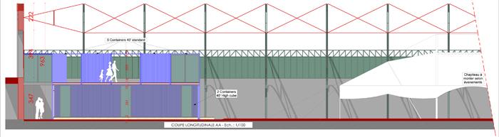 COUPE LONGITUDINALE PARTIELLE - Le nouveau Centre et le chapiteau