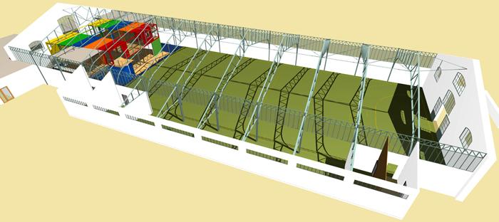PERSPECTIVE GÉNÉRALE - Le Gymnase et le nouveau Centre en containers