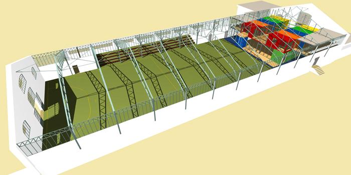 PERSPECTIVE GÉNÉRALE - La zone des spectacles avec les gradins et le nouveau Centre en containers