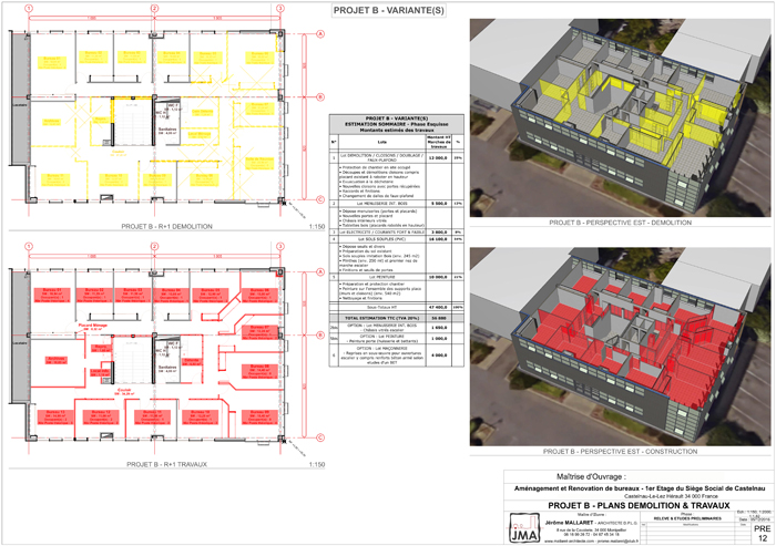 PLAN PROJET & MAQUETTE 3D - VARIANTE avec VISUALISATION des parties DÉMOLIES et PROJETÉES