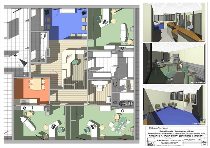 VARIANTE – PLAN 3D avec ÉQUIPEMENTS & PERSPECTIVES INTÉRIEURES